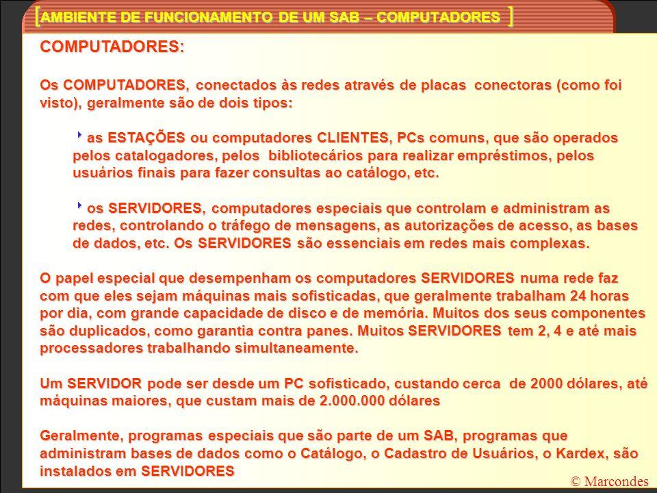 [ FORMATO MARC – IMPORTÂNCIA PARA UMA BIBLIOTECA ] © Marcondes Um SAB que seja compatível com o formato MARC é importante para uma Biblioteca porque: O formato MARC, nas suas versões BIBLIOGRÁFICO e de AUTORIDADES, garante para a Biblioteca um padrão de catalogação, registro e intercâmbio compatível com os adotados por milhares das mais importantes bibliotecas do mundo; Permite que a biblioteca coopere com outras, recebendo dados (importação) já catalogados para compor o seu acervo ou enviando os dados do seu catálogo (exportação) para outras bibliotecas Permite manter seu catálogo em meio legível por computador num formato padronizado, que tornará muito mias fácil a migração para um novo SAB Um SAB compatível com o formato MARC deve permitir catalogar novos documentos de acordo com as regras e convenções do formato MARC; importar conjuntos de registros – lotes - (em fita magnética, em CD-ROM, em disquete, em arquivos) em formato MARC e incorporá-los ao seu catálogo exportar conjuntos de registros – lotes - (para fita magnética, para CD-ROM, para disquete, para arquivos) em formato MARC para outras bibliotecas capturar registros MARC individuais da Internet e incorporá-los ao seu catálogo (através de recortar ecolar), como os que estão disponíveis, por exemplo nos sites da Library of Congress