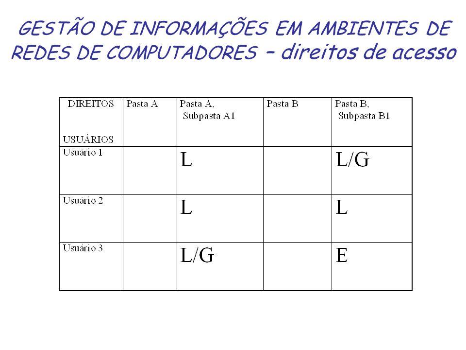 GESTÃO DE INFORMAÇÕES EM AMBIENTES DE REDES DE COMPUTADORES – direitos de acesso