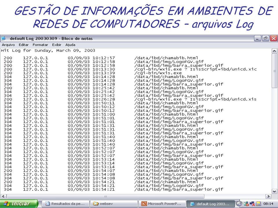 GESTÃO DE INFORMAÇÕES EM AMBIENTES DE REDES DE COMPUTADORES – arquivos Log