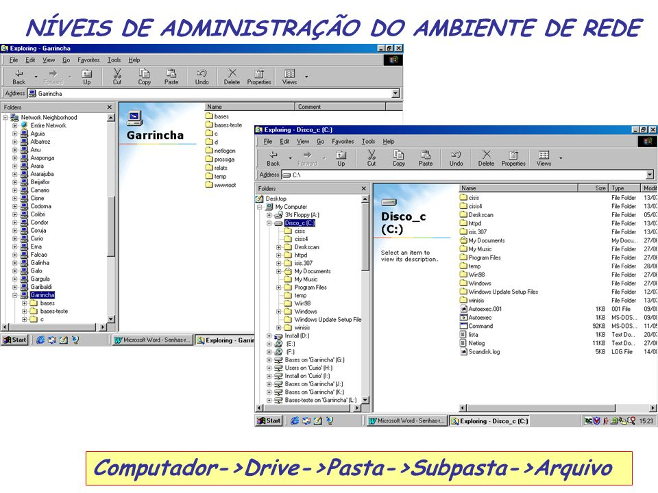 NÍVEIS DE ADMINISTRAÇÃO DO AMBIENTE DE REDE Computador->Drive->Pasta->Subpasta->Arquivo