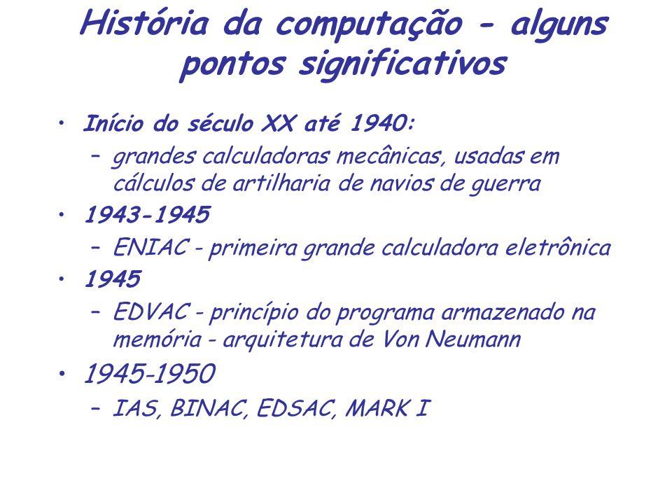 História da computação - alguns pontos significativos Início do século XX até 1940: –grandes calculadoras mecânicas, usadas em cálculos de artilharia