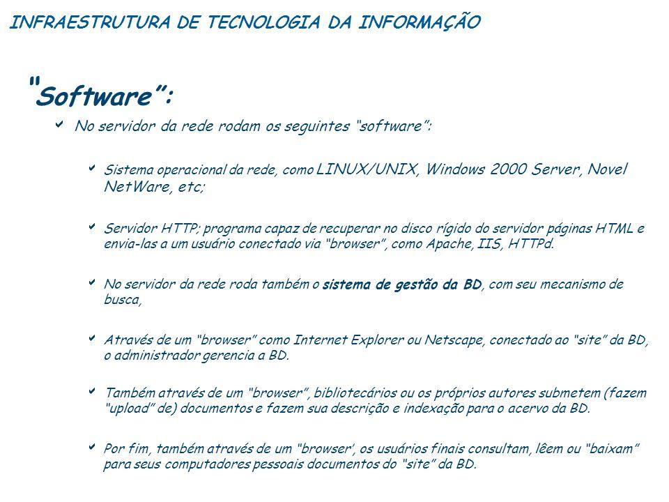 Software: No servidor da rede rodam os seguintes software: Sistema operacional da rede, como LINUX/UNIX, Windows 2000 Server, Novel NetWare, etc; Serv