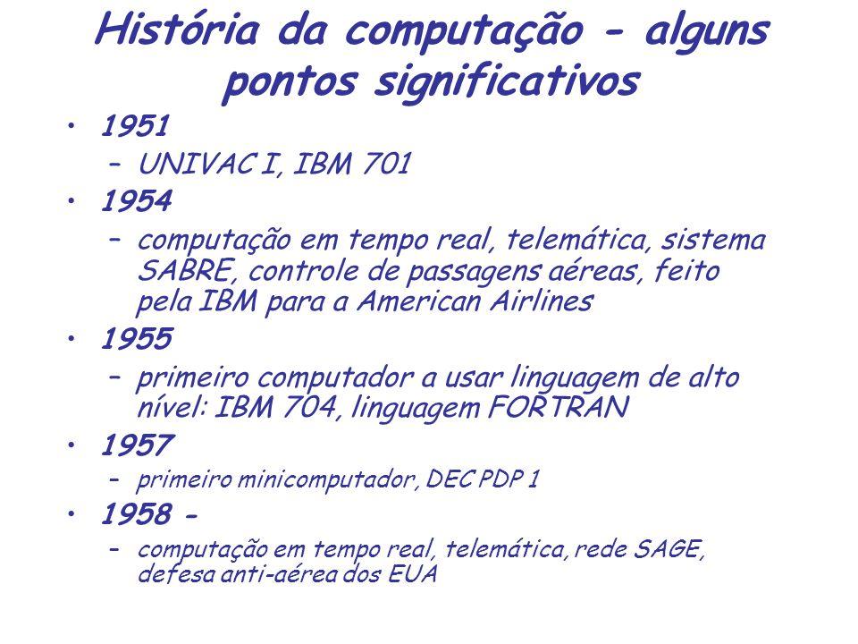 História da computação - alguns pontos significativos 1951 –UNIVAC I, IBM 701 1954 –computação em tempo real, telemática, sistema SABRE, controle de p