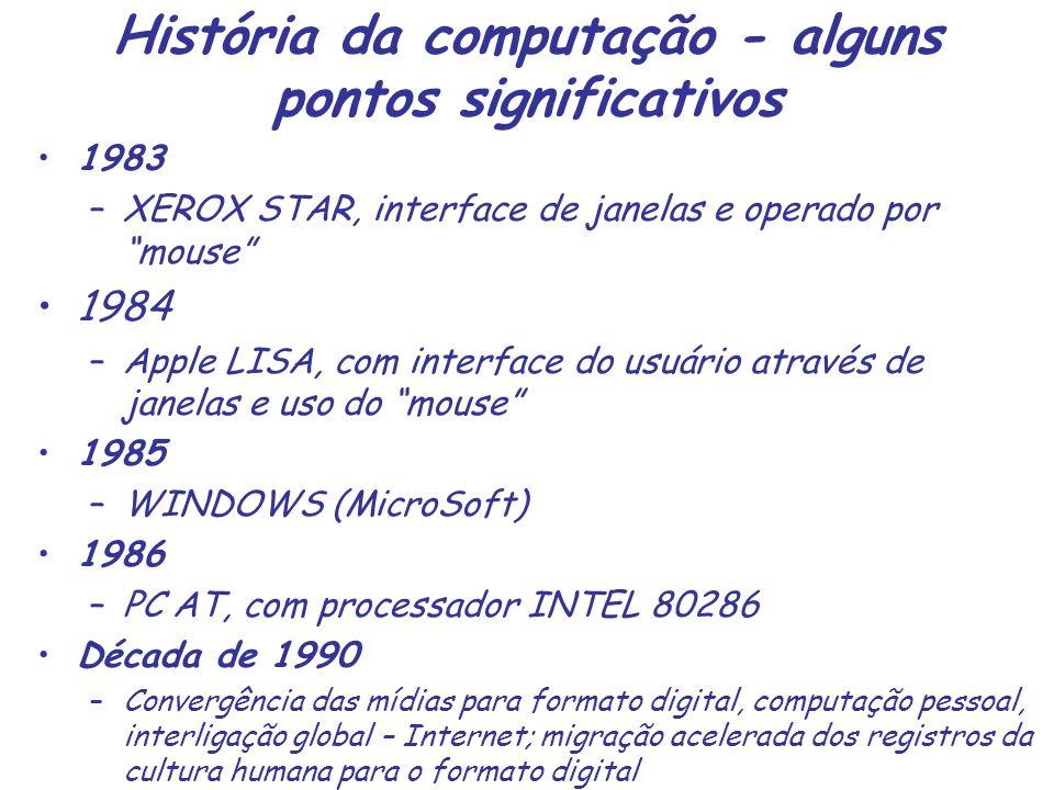 História da computação - alguns pontos significativos 1983 –XEROX STAR, interface de janelas e operado por mouse 1984 –Apple LISA, com interface do us