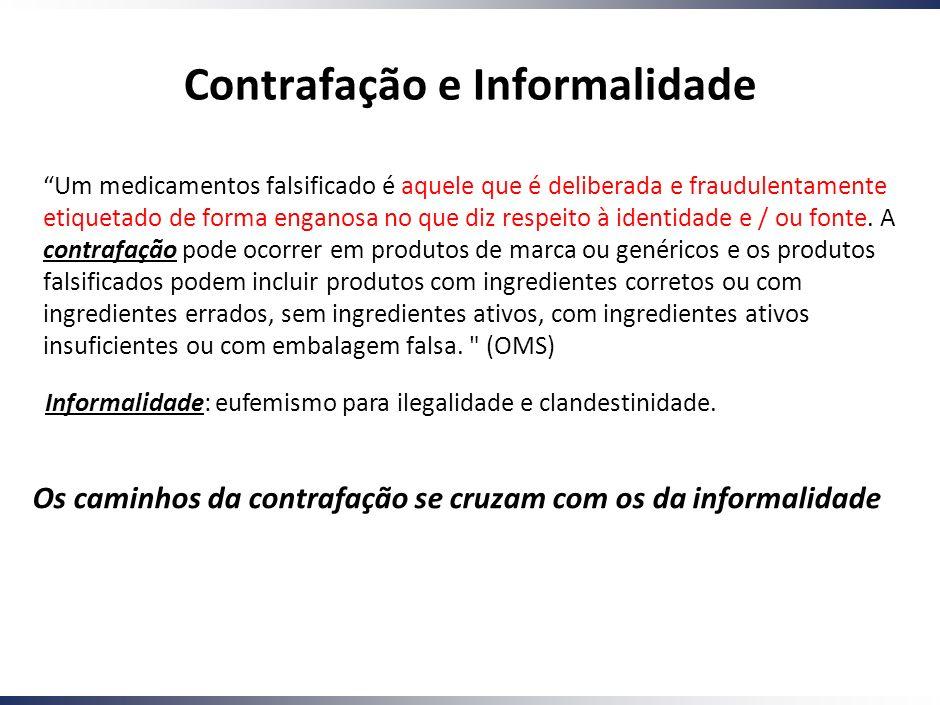 Working Draft - Last Modified 01/12/2005 10:11:49 Printed 4 Contrafação e Informalidade Um medicamentos falsificado é aquele que é deliberada e fraudulentamente etiquetado de forma enganosa no que diz respeito à identidade e / ou fonte.