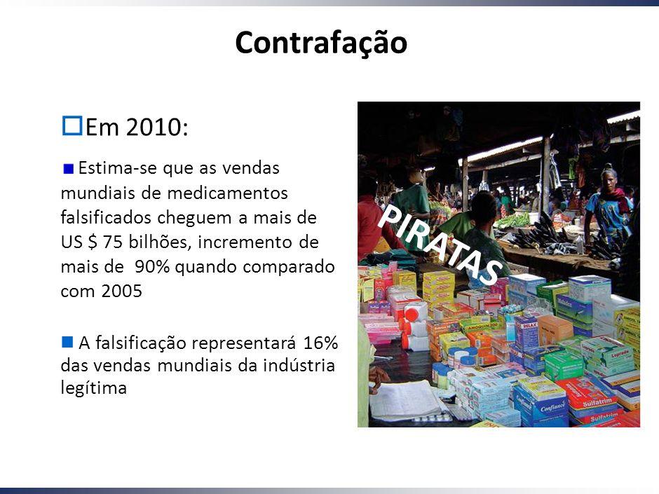 Working Draft - Last Modified 01/12/2005 10:11:49 Printed 5 Em 2010: Estima-se que as vendas mundiais de medicamentos falsificados cheguem a mais de US $ 75 bilhões, incremento de mais de 90% quando comparado com 2005 A falsificação representará 16% das vendas mundiais da indústria legítima P I R A T A S Contrafação