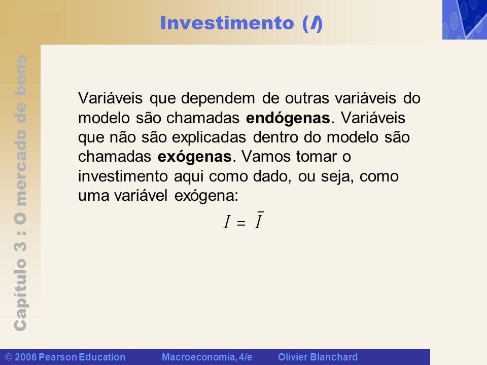 Capítulo 3 : O mercado de bens © 2006 Pearson Education Macroeconomia, 4/e Olivier Blanchard Investimento (I) Variáveis que dependem de outras variáve