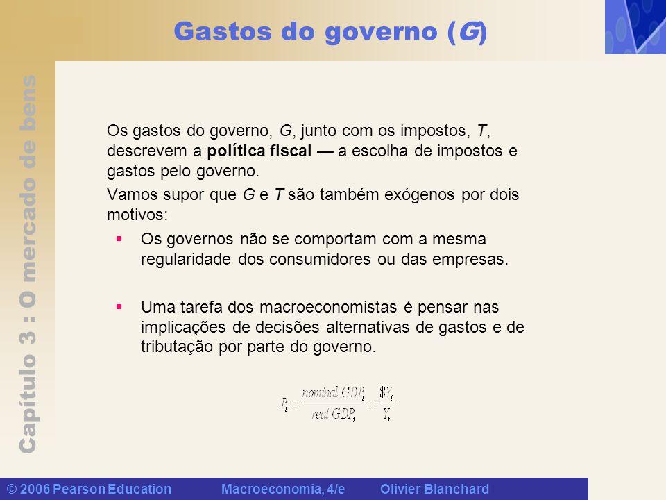Capítulo 3 : O mercado de bens © 2006 Pearson Education Macroeconomia, 4/e Olivier Blanchard Gastos do governo (G) Os gastos do governo, G, junto com