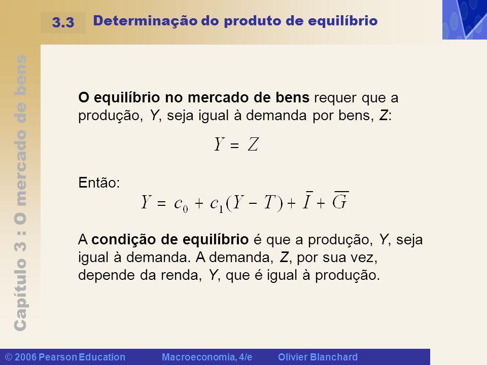 Capítulo 3 : O mercado de bens © 2006 Pearson Education Macroeconomia, 4/e Olivier Blanchard Determinação do produto de equilíbrio O equilíbrio no mer
