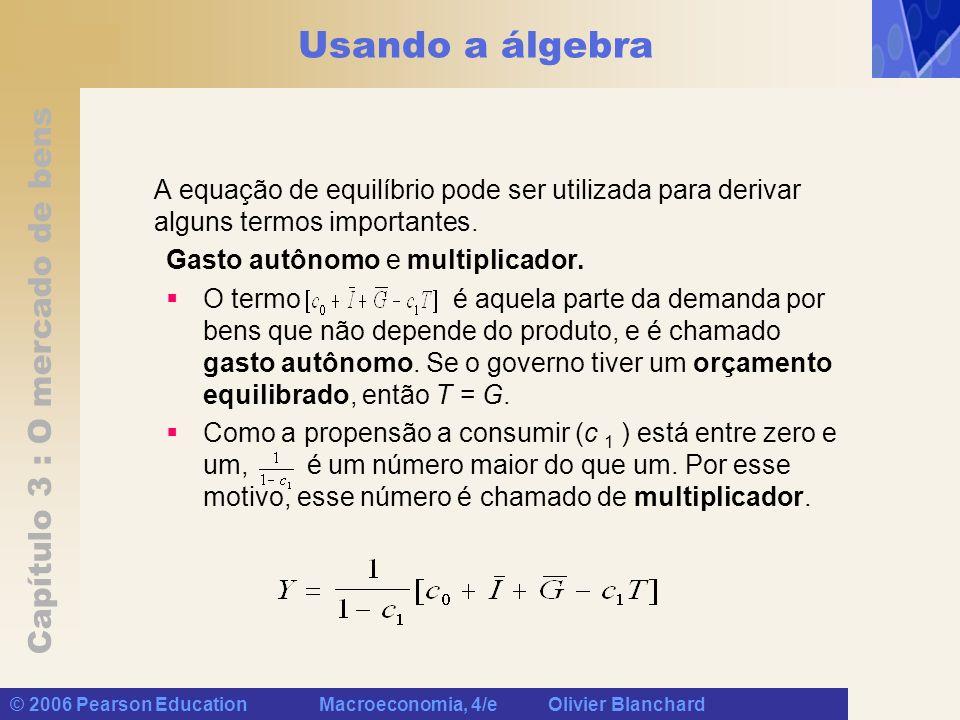 Capítulo 3 : O mercado de bens © 2006 Pearson Education Macroeconomia, 4/e Olivier Blanchard Usando a álgebra A equação de equilíbrio pode ser utiliza