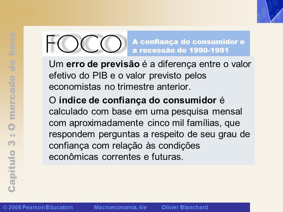Capítulo 3 : O mercado de bens © 2006 Pearson Education Macroeconomia, 4/e Olivier Blanchard Um erro de previsão é a diferença entre o valor efetivo d