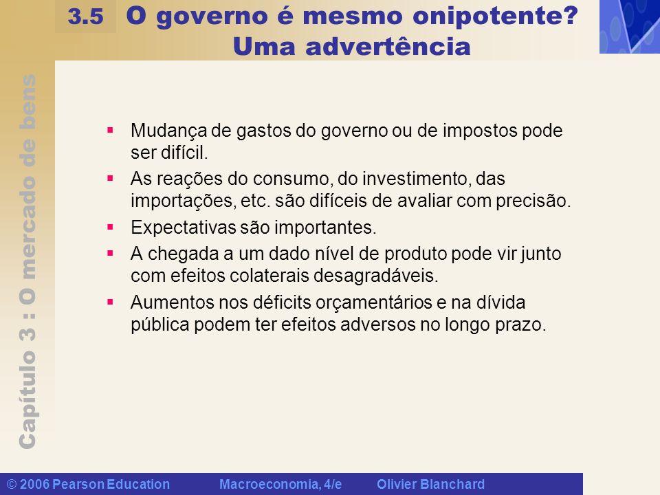 Capítulo 3 : O mercado de bens © 2006 Pearson Education Macroeconomia, 4/e Olivier Blanchard O governo é mesmo onipotente? Uma advertência Mudança de