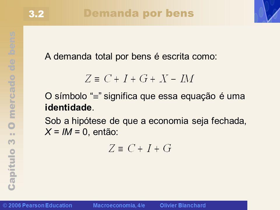 Capítulo 3 : O mercado de bens © 2006 Pearson Education Macroeconomia, 4/e Olivier Blanchard Demanda por bens A demanda total por bens é escrita como:
