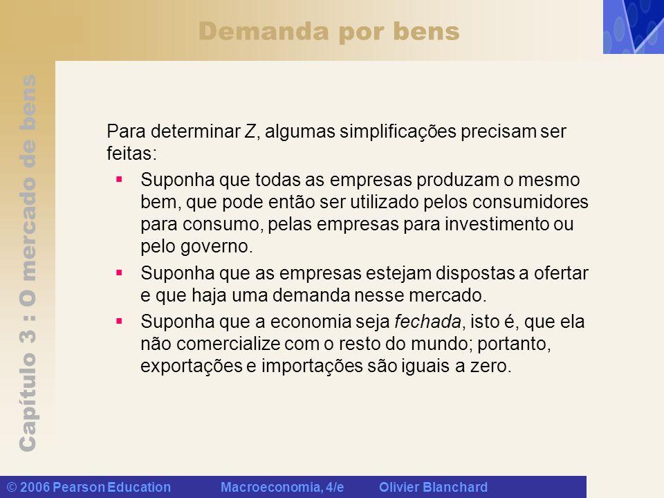 Capítulo 3 : O mercado de bens © 2006 Pearson Education Macroeconomia, 4/e Olivier Blanchard Consumo (C) Renda disponível, (Y D ), é a renda que resta depois que os consumidores tenham recebido transferências do governo e pago impostos.