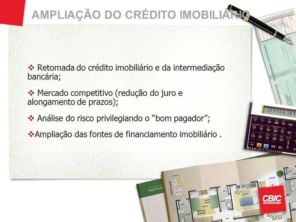 AMPLIAÇÃO DO CRÉDITO IMOBILIÁRIO Retomada do crédito imobiliário e da intermediação bancária; Mercado competitivo (redução do juro e alongamento de pr