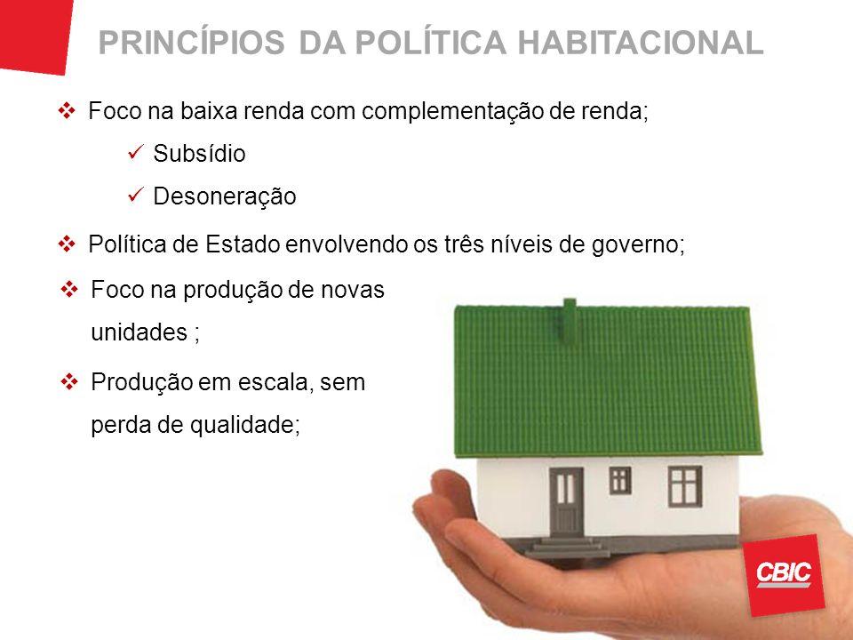 Foco na baixa renda com complementação de renda; Política de Estado envolvendo os três níveis de governo; PRINCÍPIOS DA POLÍTICA HABITACIONAL Foco na