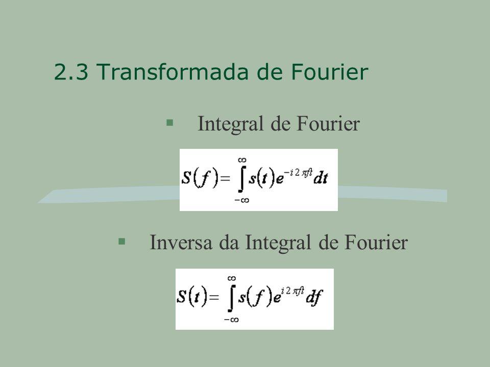 2.3 Transformada de Fourier §Integral de Fourier §Inversa da Integral de Fourier