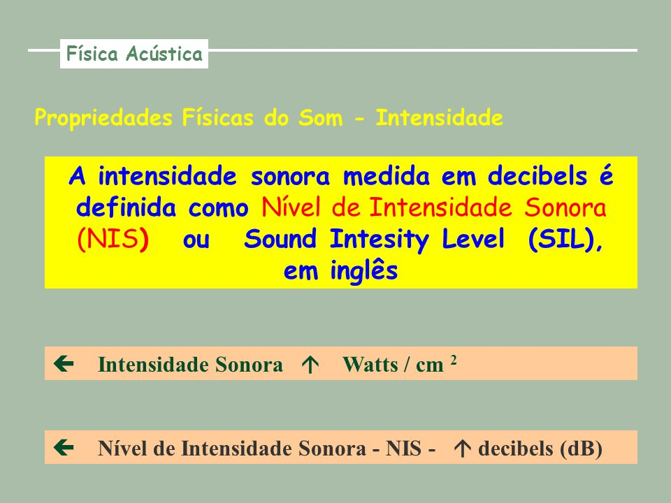 Propriedades Físicas do Som - Intensidade A intensidade sonora medida em decibels é definida como Nível de Intensidade Sonora (NIS) ou Sound Intesity Level (SIL), em inglês Intensidade Sonora Watts / cm 2 Nível de Intensidade Sonora - NIS - decibels (dB) Física Acústica