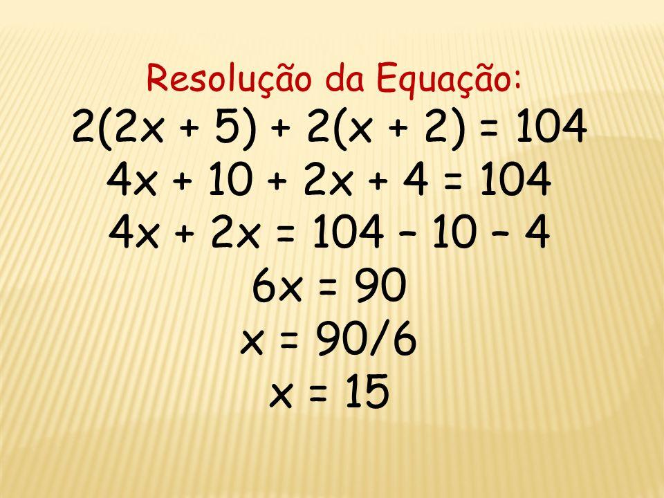 Dados do problema: Base: 2x + 5 Altura: x + 2 Perímetro: 104 metros Equação do problema: 2(2x + 5) + 2(x + 2) = 104