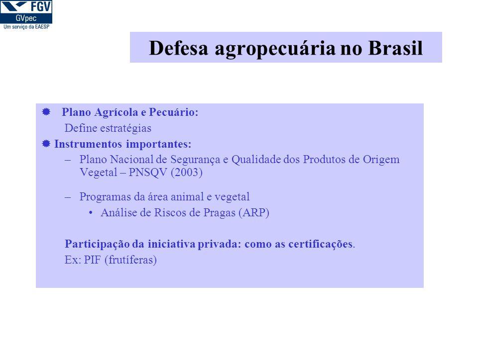 Defesa agropecuária no Brasil Plano Agrícola e Pecuário: Define estratégias Instrumentos importantes: –Plano Nacional de Segurança e Qualidade dos Produtos de Origem Vegetal – PNSQV (2003) –Programas da área animal e vegetal Análise de Riscos de Pragas (ARP) Participação da iniciativa privada: como as certificações.