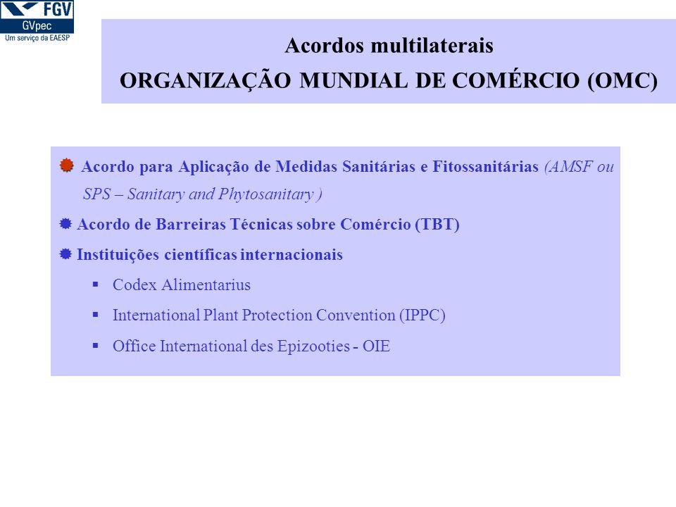 Acordos multilaterais ORGANIZAÇÃO MUNDIAL DE COMÉRCIO (OMC) Acordo para Aplicação de Medidas Sanitárias e Fitossanitárias (AMSF ou SPS – Sanitary and Phytosanitary ) Acordo de Barreiras Técnicas sobre Comércio (TBT) Instituições científicas internacionais Codex Alimentarius International Plant Protection Convention (IPPC) Office International des Epizooties - OIE