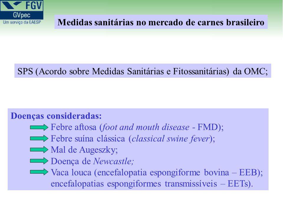 Doenças consideradas: Febre aftosa (foot and mouth disease - FMD); Febre suína clássica (classical swine fever); Mal de Augeszky; Doença de Newcastle; Vaca louca (encefalopatia espongiforme bovina – EEB); encefalopatias espongiformes transmissíveis – EETs).