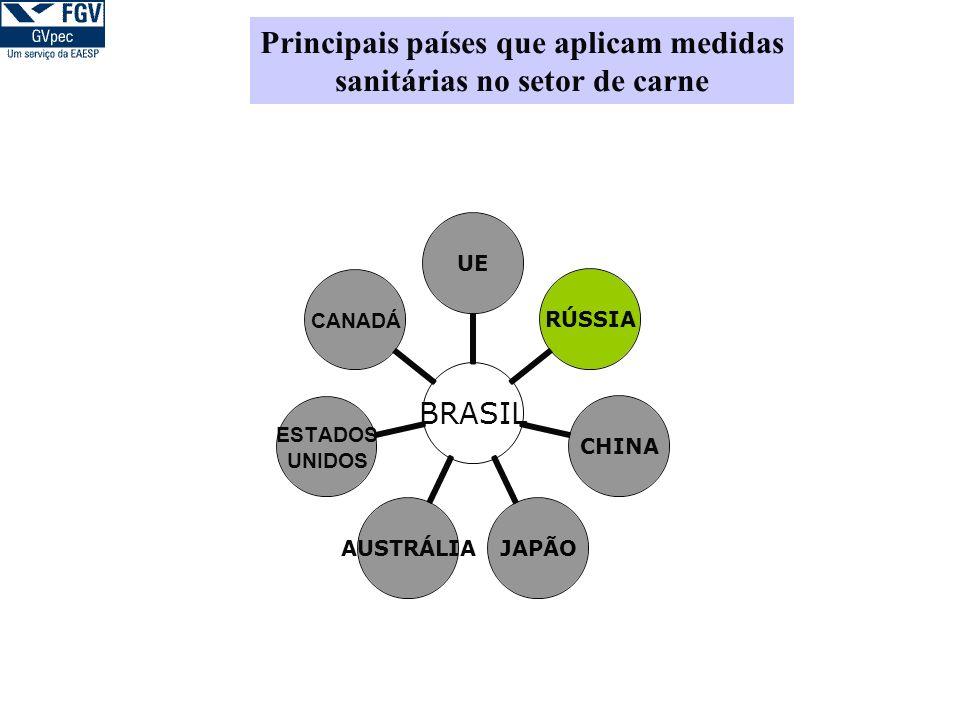 BRASIL UERÚSSIACHINAJAPÃOAUSTRÁLIA ESTADOS UNIDOS CANADÁ Principais países que aplicam medidas sanitárias no setor de carne