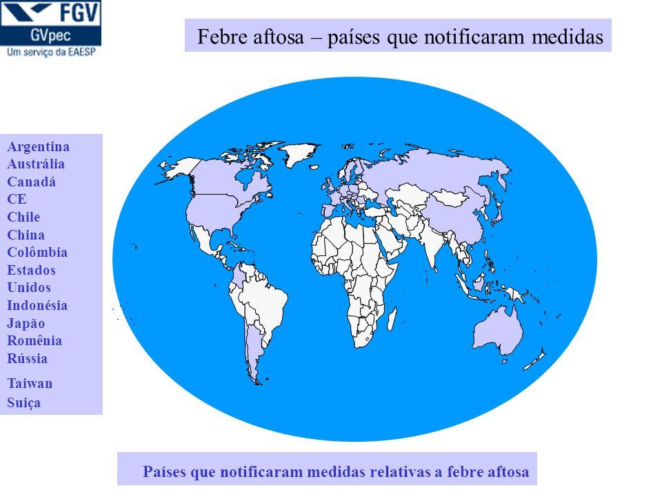 Países que notificaram medidas relativas a febre aftosa Argentina Austrália Canadá CE Chile China Colômbia Estados Unidos Indonésia Japão Romênia Rússia Taiwan Suiça Febre aftosa – países que notificaram medidas