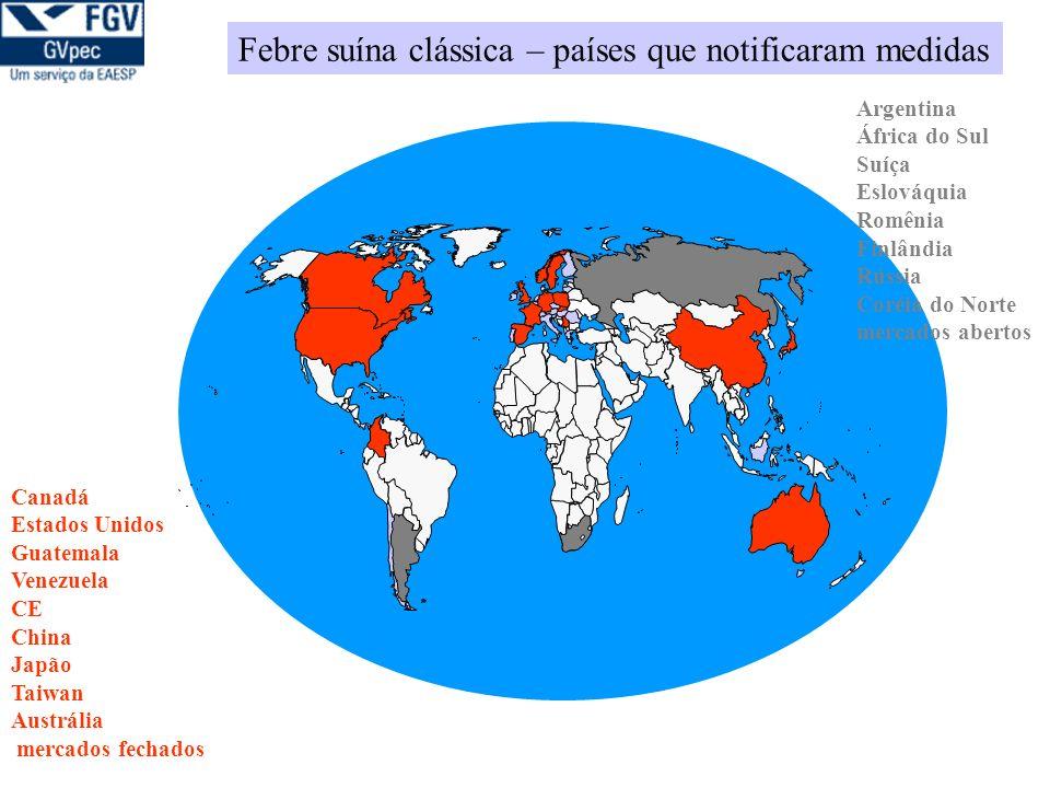Febre suína clássica – países que notificaram medidas Argentina África do Sul Suíça Eslováquia Romênia Finlândia Rússia Coréia do Norte mercados abertos Canadá Estados Unidos Guatemala Venezuela CE China Japão Taiwan Austrália mercados fechados