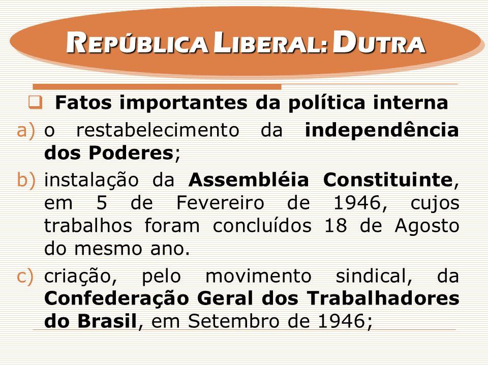 Fatos importantes da política interna a)o restabelecimento da independência dos Poderes; b)instalação da Assembléia Constituinte, em 5 de Fevereiro de