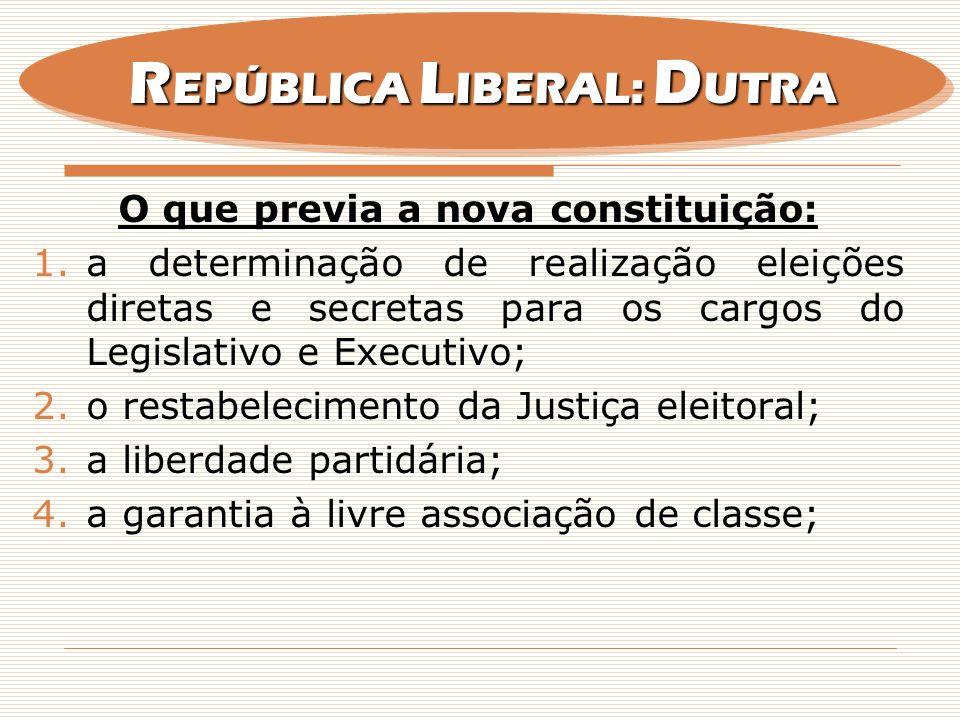 O que previa a nova constituição: 1.a determinação de realização eleições diretas e secretas para os cargos do Legislativo e Executivo; 2.o restabelec