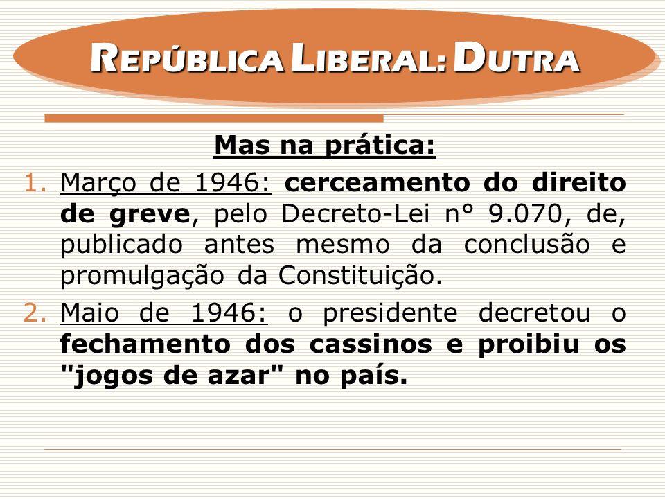 Mas na prática: 1.Março de 1946: cerceamento do direito de greve, pelo Decreto-Lei n° 9.070, de, publicado antes mesmo da conclusão e promulgação da C