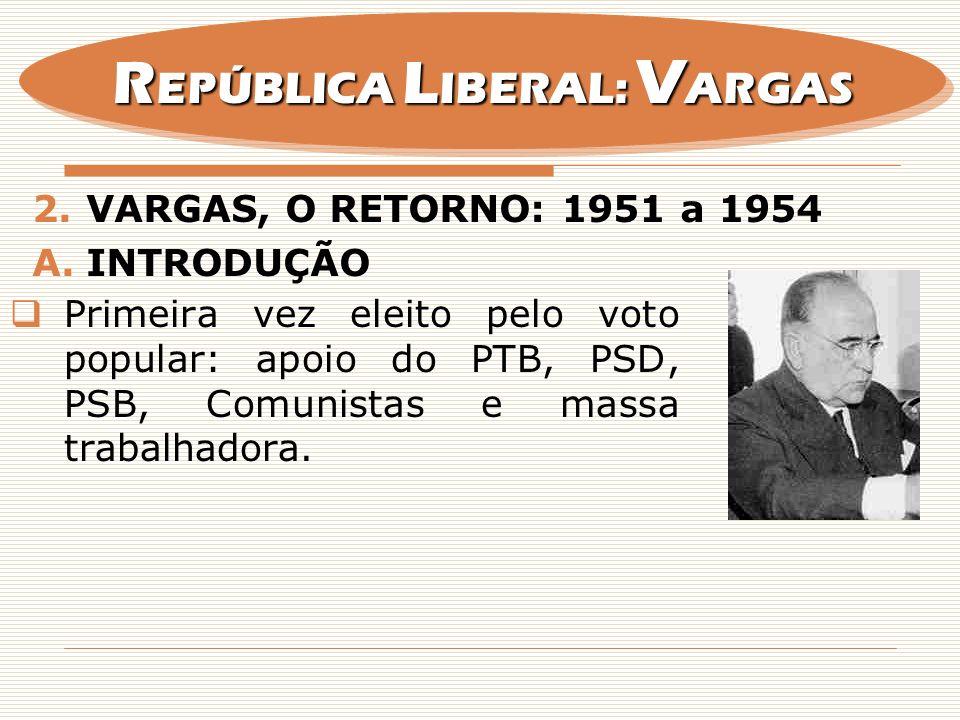 2.VARGAS, O RETORNO: 1951 a 1954 A.INTRODUÇÃO Primeira vez eleito pelo voto popular: apoio do PTB, PSD, PSB, Comunistas e massa trabalhadora. R EPÚBLI