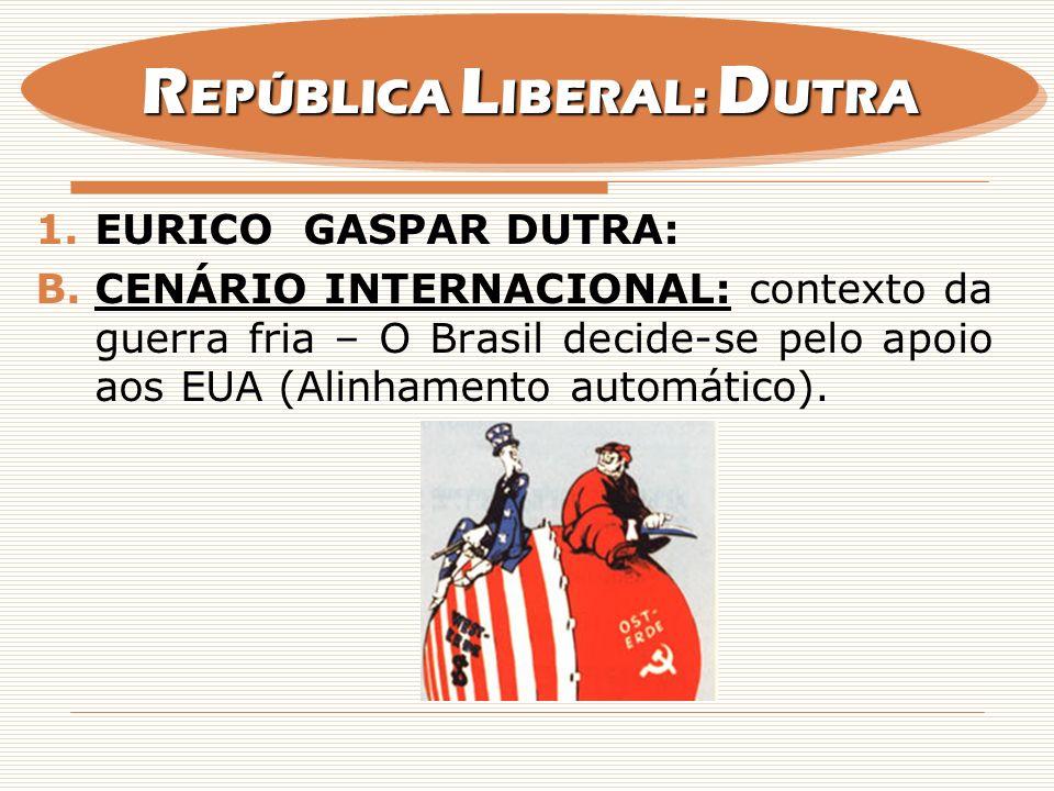 1.EURICO GASPAR DUTRA: B.CENÁRIO INTERNACIONAL: contexto da guerra fria – O Brasil decide-se pelo apoio aos EUA (Alinhamento automático). R EPÚBLICA L