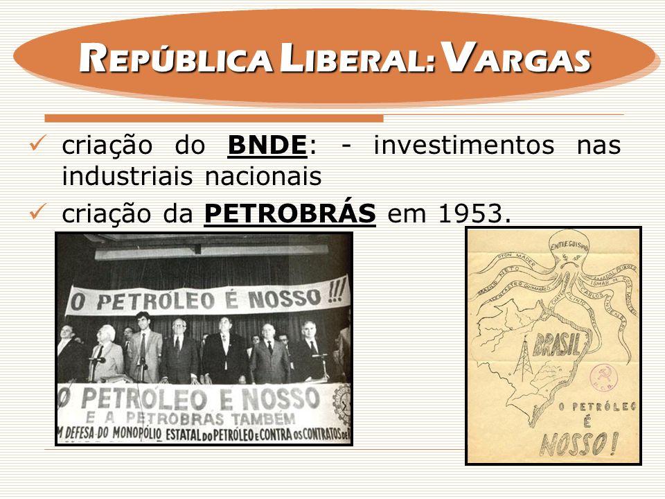 criação do BNDE: - investimentos nas industriais nacionais criação da PETROBRÁS em 1953. R EPÚBLICA L IBERAL: V ARGAS