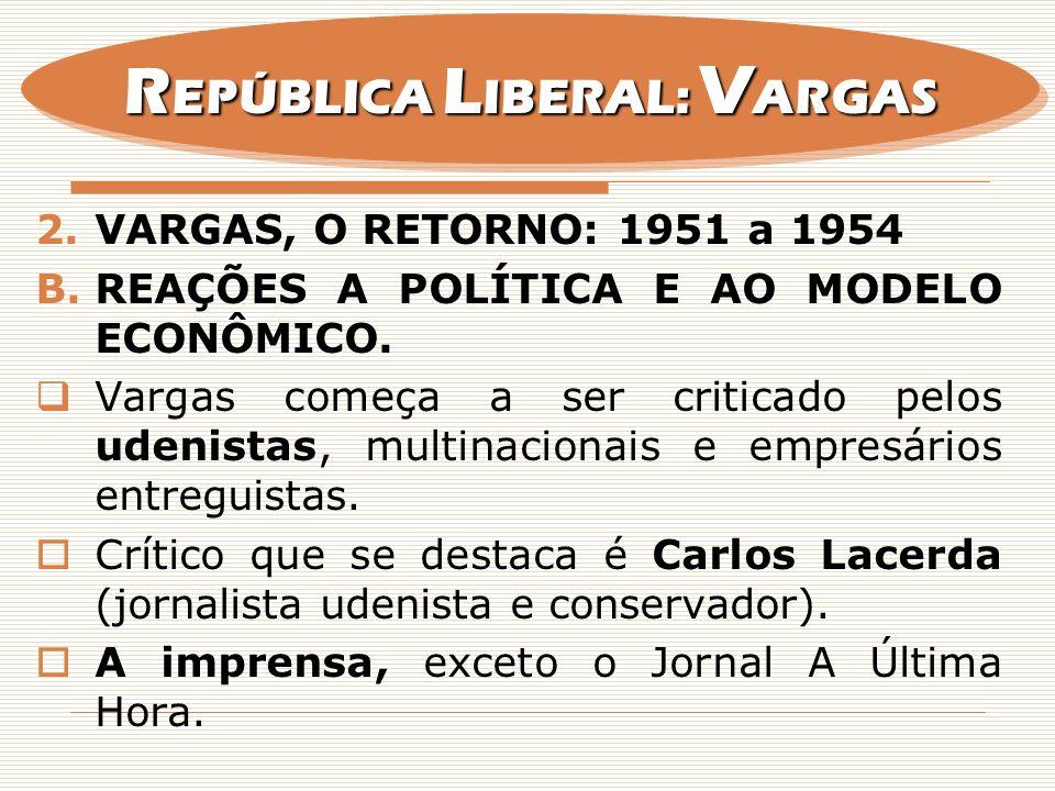2.VARGAS, O RETORNO: 1951 a 1954 B.REAÇÕES A POLÍTICA E AO MODELO ECONÔMICO. Vargas começa a ser criticado pelos udenistas, multinacionais e empresári