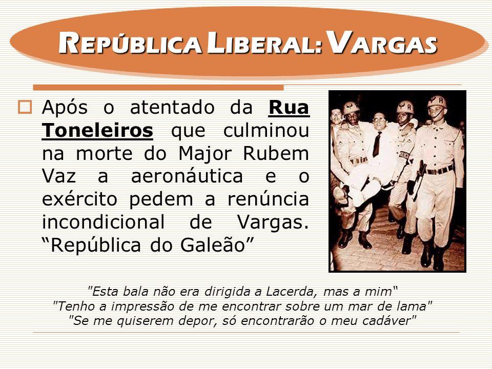 Após o atentado da Rua Toneleiros que culminou na morte do Major Rubem Vaz a aeronáutica e o exército pedem a renúncia incondicional de Vargas. Repúbl
