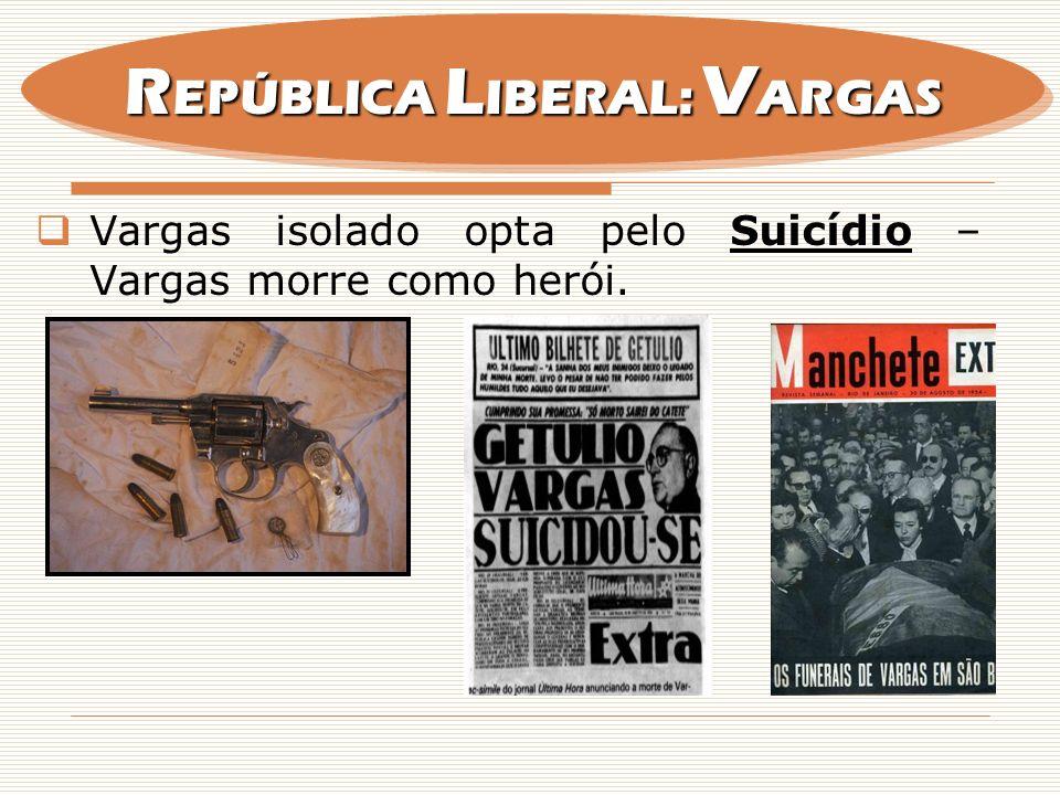 Vargas isolado opta pelo Suicídio – Vargas morre como herói. R EPÚBLICA L IBERAL: V ARGAS
