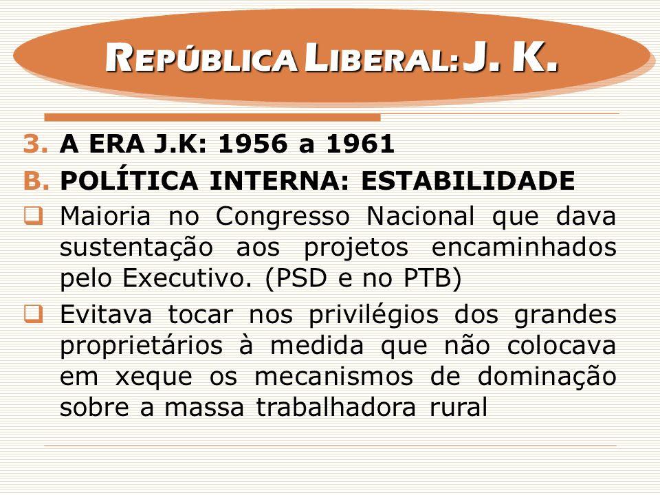 3.A ERA J.K: 1956 a 1961 B.POLÍTICA INTERNA: ESTABILIDADE Maioria no Congresso Nacional que dava sustentação aos projetos encaminhados pelo Executivo.