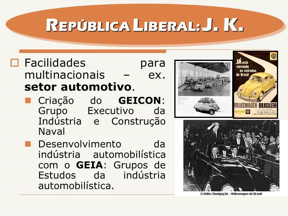 Facilidades para multinacionais – ex. setor automotivo. Criação do GEICON: Grupo Executivo da Indústria e Construção Naval Desenvolvimento da indústri
