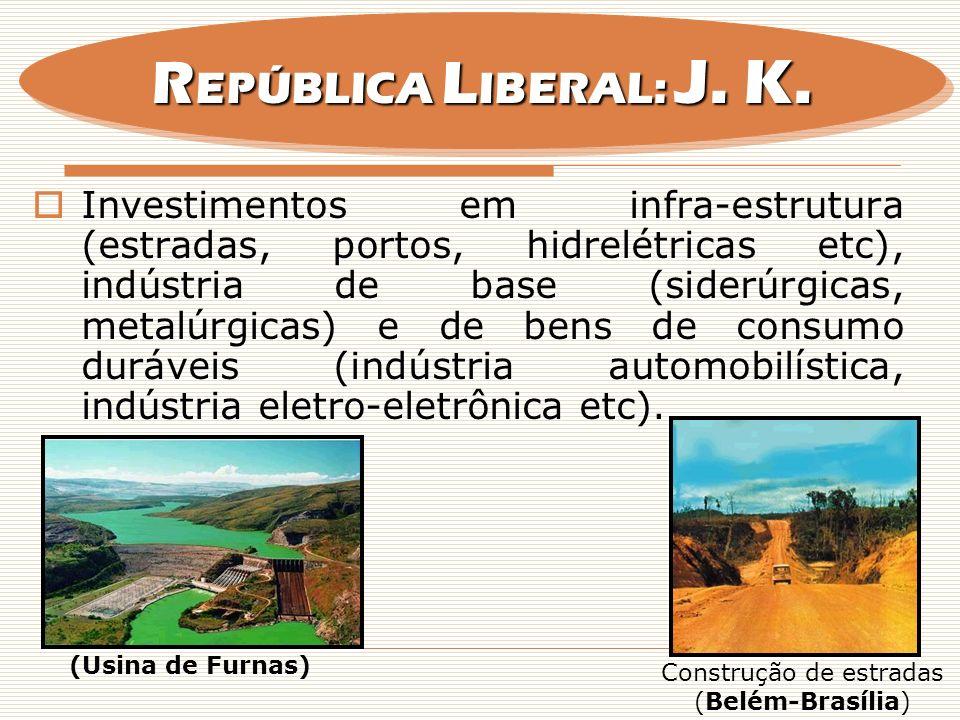 Investimentos em infra-estrutura (estradas, portos, hidrelétricas etc), indústria de base (siderúrgicas, metalúrgicas) e de bens de consumo duráveis (