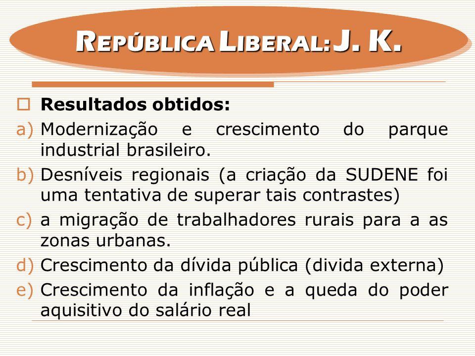 Resultados obtidos: a)Modernização e crescimento do parque industrial brasileiro. b)Desníveis regionais (a criação da SUDENE foi uma tentativa de supe