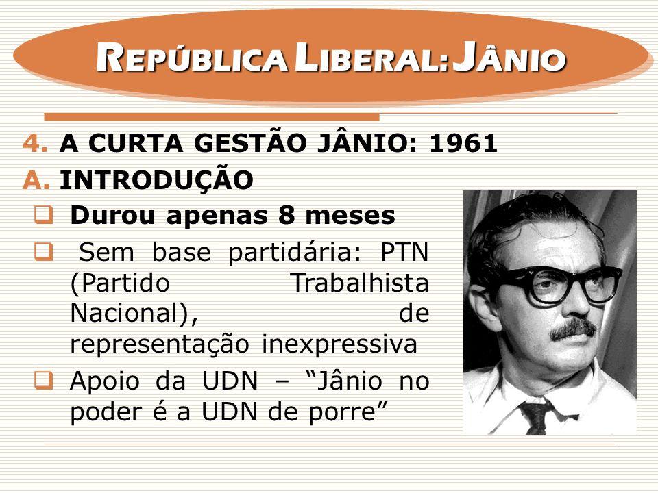 4.A CURTA GESTÃO JÂNIO: 1961 A.INTRODUÇÃO Durou apenas 8 meses Sem base partidária: PTN (Partido Trabalhista Nacional), de representação inexpressiva