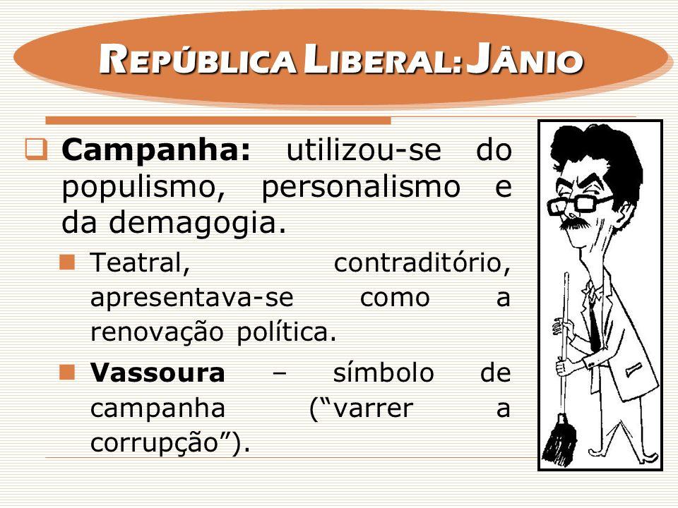 Campanha: utilizou-se do populismo, personalismo e da demagogia. Teatral, contraditório, apresentava-se como a renovação política. Vassoura – símbolo