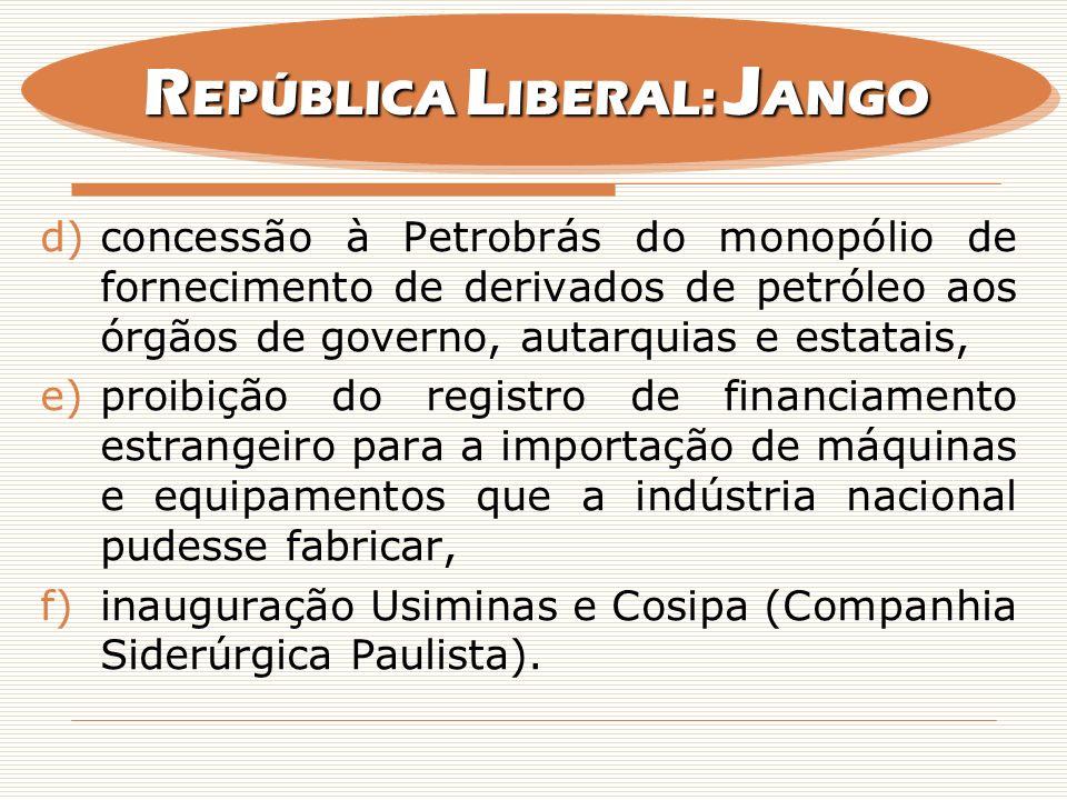 d)concessão à Petrobrás do monopólio de fornecimento de derivados de petróleo aos órgãos de governo, autarquias e estatais, e)proibição do registro de