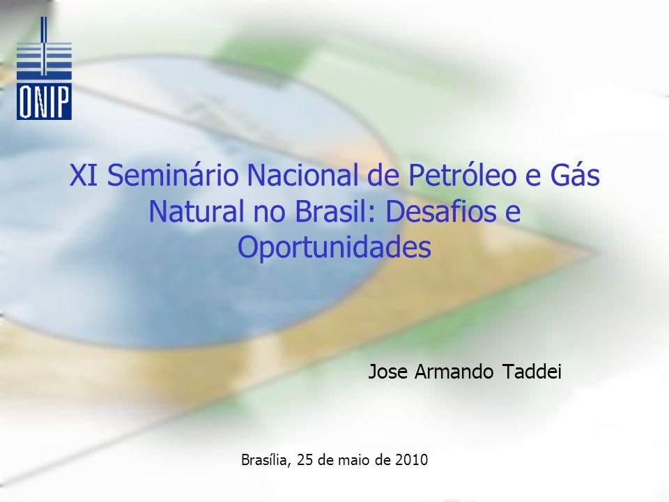 XI Seminário Nacional de Petróleo e Gás Natural no Brasil: Desafios e Oportunidades Jose Armando Taddei Brasília, 25 de maio de 2010