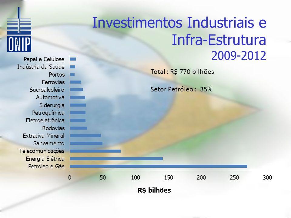 Investimentos Industriais e Infra-Estrutura 2009-2012 Total : R$ 770 bilhões Setor Petróleo : 35%