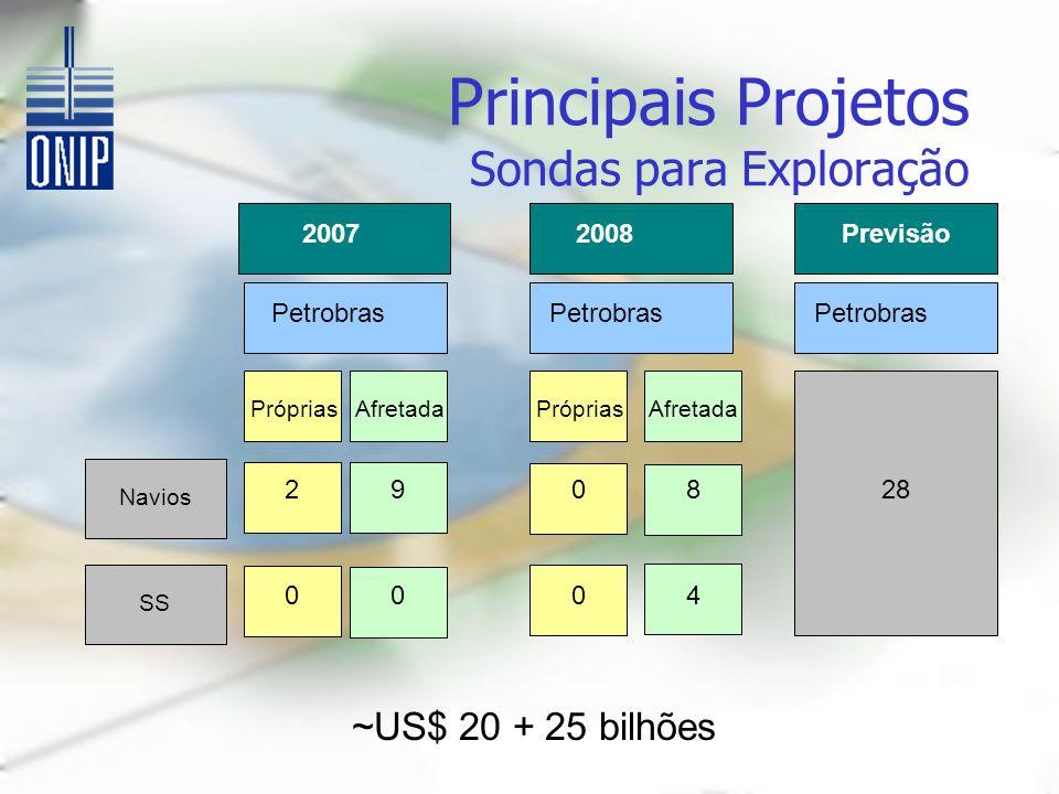 Principais Projetos Sondas para Exploração 20072008 Petrobras Próprias Afretada Navios SS 29 0 0 0 8 04 Previsão Petrobras 28 ~US$ 20 + 25 bilhões
