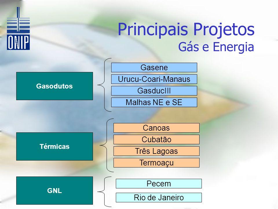 Principais Projetos Gás e Energia Gasodutos Gasene Urucu-Coari-Manaus GasducIII Malhas NE e SE Térmicas Canoas Cubatão Três Lagoas Termoaçu GNL Pecem