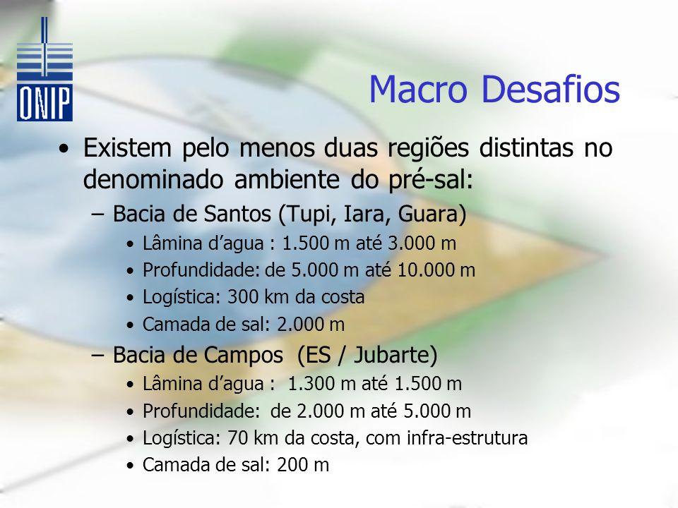 Macro Desafios Existem pelo menos duas regiões distintas no denominado ambiente do pré-sal: –Bacia de Santos (Tupi, Iara, Guara) Lâmina dagua : 1.500